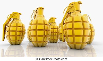 Abstract Hand grenades in gold