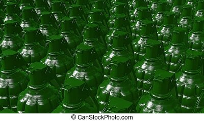 Abstract Hand grenades in green