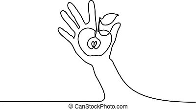 Abstract hand holding apple Continuous one line