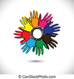 abstract hand icons with outlines as petals of flower- vector graphic. This  illustration represents people team standing united, community of happy people, people sharing, children playing, etc