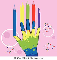 Abstract Hand In Paint, Colorful Over Pink Background