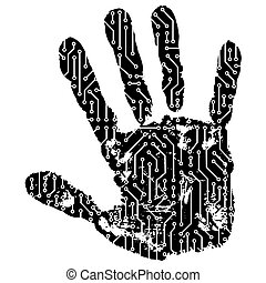 abstract hand made from circuit board
