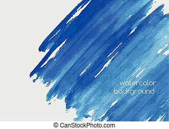 Abstract hand painted watercolor horizontal background with paint blots, scribbles, stains or smears of vivid azure blue color. Gorgeous aquarelle backdrop. Bright colored vector illustration.