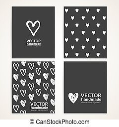 Abstract hand-painted white hearts on black banner set 1