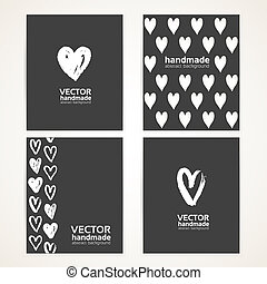 Abstract hand-painted white hearts on black banner set