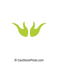 abstract hand palm green leaf design logo vector