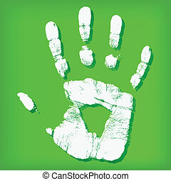 Abstract hand print on a green background - vector ...