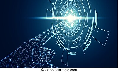 Abstract hand wireframe digital technology concept The finger is pointed in a circle blue light on hi tech future cyan white background. for template, web design or presentation.