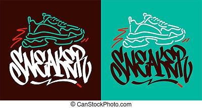 Abstract Hand Written Graffiti Style Word Sneaker Vector Illustration. Typography Illustration As Logotype