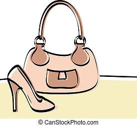 Abstract handbag and woman shoe drawing