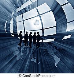 abstract, handel illustratie, met, globe