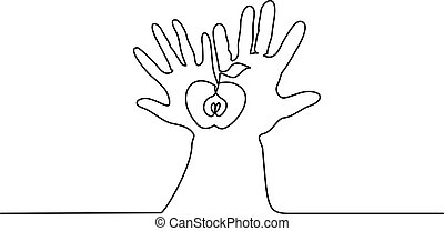 Abstract hands holding apple Continuous one line