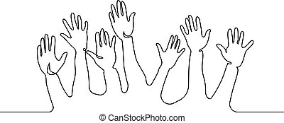 Abstract Hands Up Continuous one line drawing