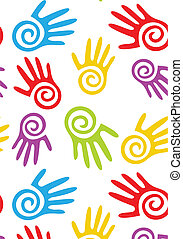 Abstract hands. Vector seamless background