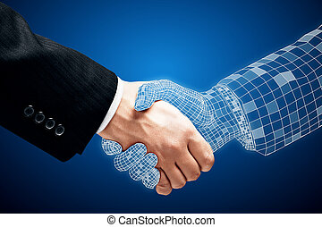 Abstract handshake on blue background