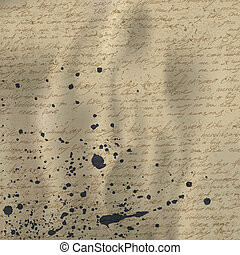 Abstract handwriting on old crumpled vintage paper with ink splutter. Vector background, EPS10.