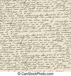 Abstract handwriting on old vintage paper. Seamless pattern,...