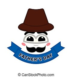 Abstract happy face with a banner. Father day