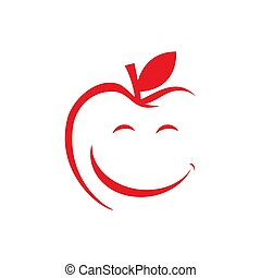abstract happy healthy fruit smile apple logo design vector illustrations