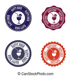 happy hour labels - abstract happy hour labels on a white...