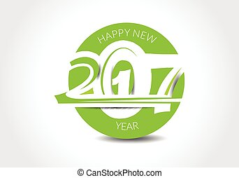 abstract happy new year 2017 text style design vector illustration