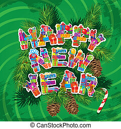 Abstract Happy New Year green background with fir tree branches and pine cones