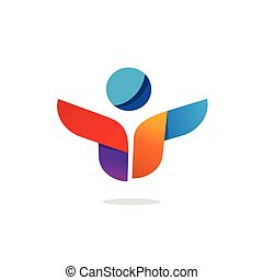Abstract happy people logo vector, idea of team work logotype, creative group