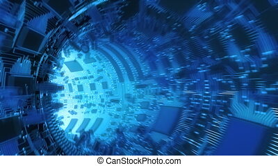 Abstract Hardware tunnel. High technology 3d animation.