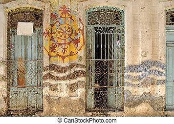 Abstract Havana facade - Abstract facade with windows in old...