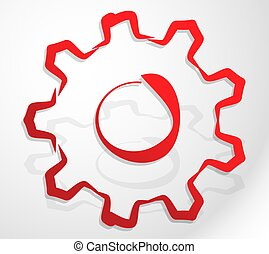 Abstract hdrawn gear, cogwheel icon, symbol. Gearwheel ...