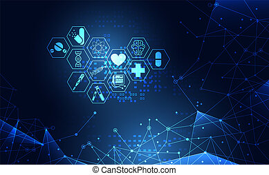 Abstract health medical science healthcare icon digital technology science concept modern innovation, Treatment, medicine on hi tech future blue background. for wallpaper, template, web design