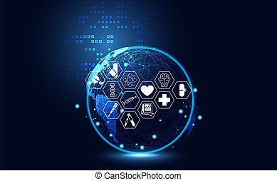 Abstract Health Medical Science Healthcare Icon Digital Technology World Concept Modern InnovationTreatmentmedicine