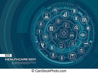 Abstract healthcare, medicine background. Digital connect system with integrated circles, glowing thin line icons. Virtual, augmented reality interface concept. Vector future infographic illustration
