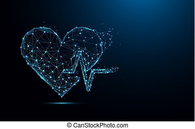 Abstract heart beat form lines and triangles, point connecting network on blue background. Illustration vector