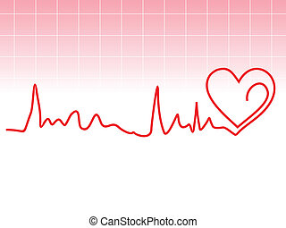 abstract heart beat with pink background