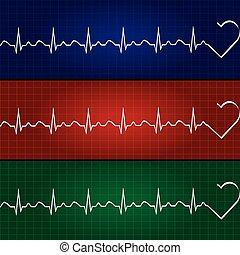 Abstract heart beats cardiogram illustration .