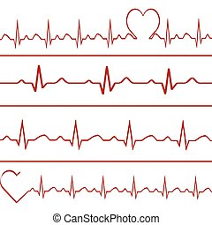 Abstract heart beats cardiogram illustration .