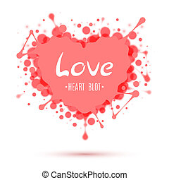 Abstract heart blot isolated on white