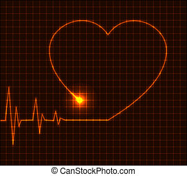 Abstract heart cardiogram illustration - vector
