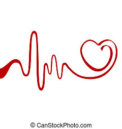 Abstract heart - Heart and ecg from red ribbon