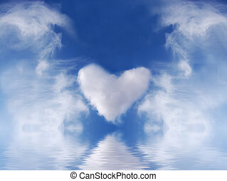 Abstract heart in blue sky.