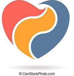 Abstract Heart in three parts Logo design. Vector illustration