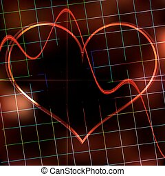 Abstract heart monitor on a dark red background.