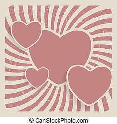 Abstract Heart Retro Grunge Background Vector Illustration