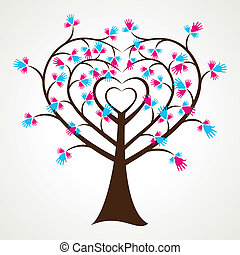 abstract heart shape hand tree
