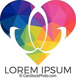 Abstract heart shape lotus flower logo design.