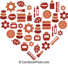 Abstract heart shape silhouette with wellness icons