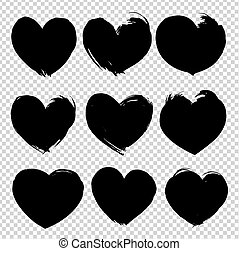 Abstract heart shape texture brushstrokes black ink isolated on imitation transparent background