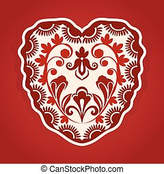 Abstract heart shape with ornament vector illustration.