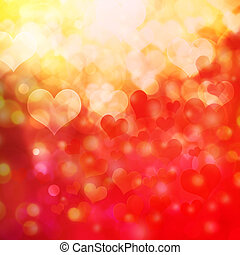 heart shaped bokeh background - Abstract heart shaped bokeh...